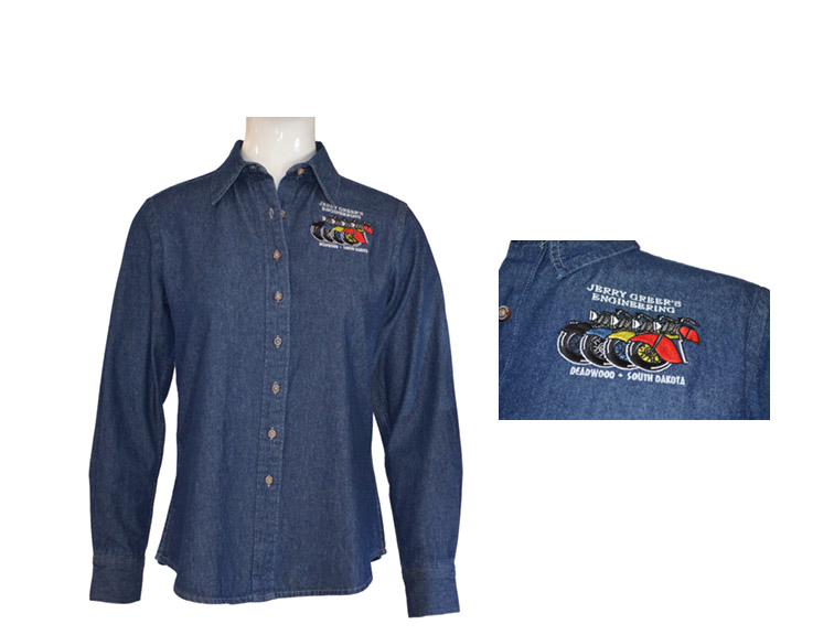DENIM SHIRT, Long Sleeve, Embroidered JGE logo