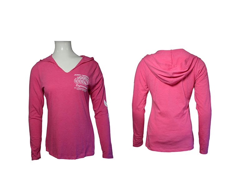 HOODED LONG SLEEVE T-SHIRT, Ladies Fuchsia Frost