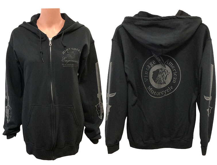 HOODIE, zip-up front, reflective ink on back