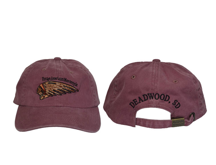 """BASEBALL CAP, Flesh """"Indian"""" head face and feathers"""